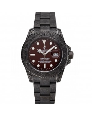 Rolex Submariner Skull Limited Edition Brown Dial All Black Case And Bracelet 1454075