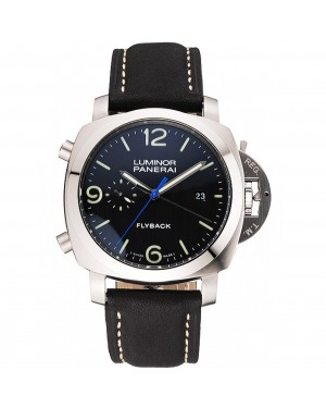 Panerai Luminor 1950 3 Days Chrono Flyback Black Dial Stainless Steel Case Black Leather Strap