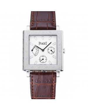 Piaget Emperador Limited Edition White Dial Engraved Silver Case Brown Leather Bracelet 1454138