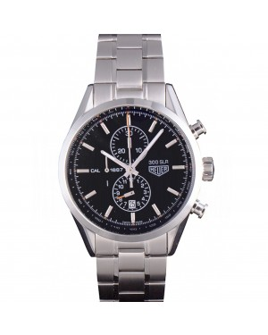 Tag Heuer SLR Polished Stainless Steel Case Black Dial Stainless Steel Strap