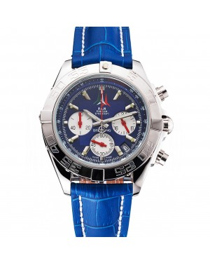 Breitling Chronomat Frecce Tricolori Blue Dial Stainless Steel Case Blue Leather Strap
