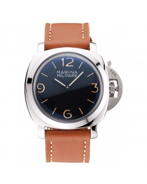 Panerai Radiomir Brushed Stainless Steel Case Black Dial Brown Leather Strap