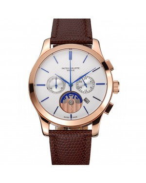 Patek Philippe Chronograph White Dial Rose Gold Case Brown Leather Strap