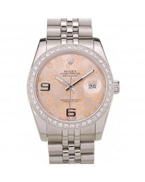 Rolex DateJust Brushed Stainless Steel Case Orange Flowers Dial Diamonds Plated