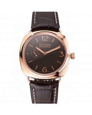 Swiss Panerai Radiomir Oro Rosso Brown Dial Rose Gold Case Brown Leather Strap