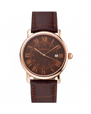 Cartier Ronde Solo Brown Dial Rose Gold Case Brown Leather Strap