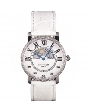 Cartier Moonphase Silver Watch with White Leather Band ct257 621376