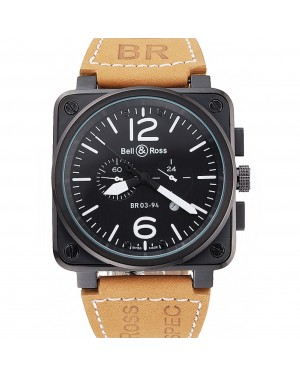 Bell and Ross BR 03-94 Black Dial Black Case Beige Leather Strap
