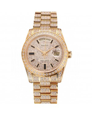 Swiss Rolex Day Date Yellow Gold Full Diamond Pave