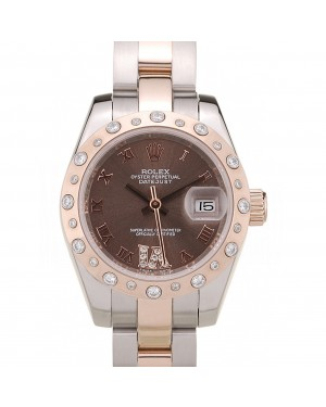 Rolex DateJust Brushed Stainless Steel Case Brown Dial Diamond Plated