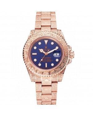 Swiss Rolex Submariner Skull Limited Edition Blue Dial Rose Gold Case And Bracelet 1454085
