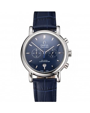 Omega Seamaster Vintage Chronograph Blue Dial Stainless Steel Case Blue Leather Strap