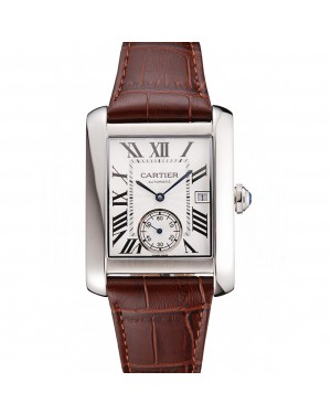 Swiss Cartier Tank MC White Dial Stainless Steel Case Brown Leather Strap