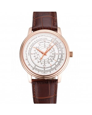 Swiss Patek Philippe Multi-Scale Chronograph White Dial Rose Gold Case Brown Leather Strap