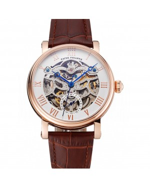 Patek Philippe Grand Complications White Skeleton Dial Rose Gold Case Brown Leather Strap 1453808