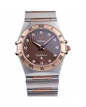 Omega Swiss Constellation Jewelry Rose Gold Case Radial Emblem Brown Dial 98116