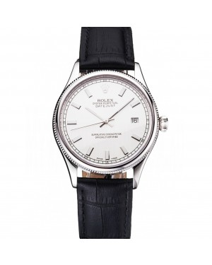 Swiss Rolex Datejust White Dial Stainless Steel Case Black Leather Strap