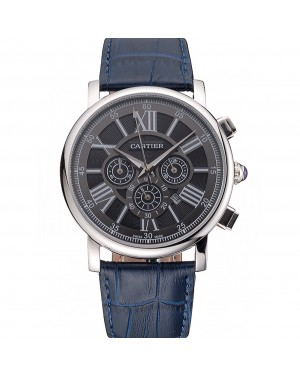 Cartier Rotonde Chronograph Black Dial Stainless Steel Case Blue Leather Strap