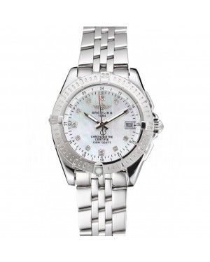 Breitling Colt Lady Pearl Dial Diamond Hour Marks Stainless Steel Case And Bracelet