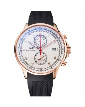 IWC Portugieser Yacht Club White Dial Rose Gold Case Black Rubber Strap