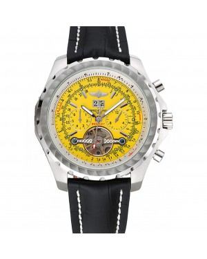 Breitling Bentley Mulliner Tourbillon Yellow Dial Stainless Steel Case Black Leather Strap 622730