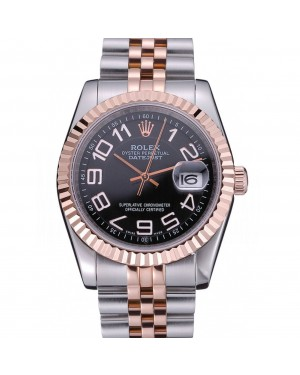 Rolex DateJust Black Dial Stainless Steel and Gold Bracelet 622545