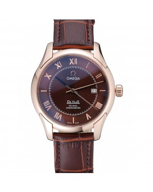 Omega DeVille Brown Dial Gold Case Brown Leather Strap 622831