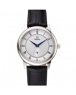 Omega De Ville Prestige Small Seconds Silver Dial Stainless Steel Case Black Leather Strap