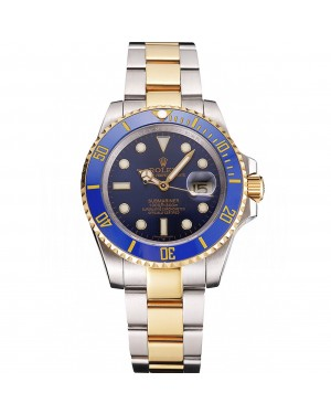 Swiss Rolex Submariner Blue Dial And Bezel Two Tone Steel Gold Bracelet