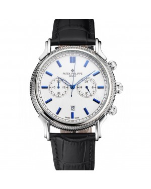 Patek Philippe Chronograph White Dial Blue Markings Stainless Steel Case Black Leather Strap