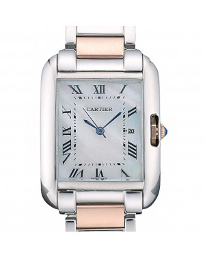 Cartier Tank Anglaise 30mm White Dial Stainless Steel Case Two Tone Bracelet