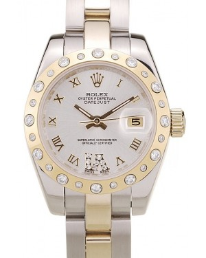 Rolex DateJust Brushed Stainless Steel Case White Dial Diamond Plated