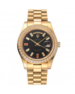Swiss Rolex Day-Date Diamonds And Rubies Black Dial Gold Bracelet 1454101