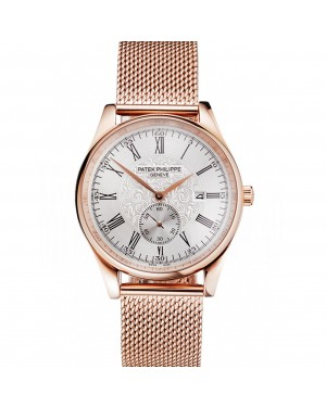 Patek Philippe Calatrava Small Seconds Silver Engraved Dial Rose Gold Case And Bracelet