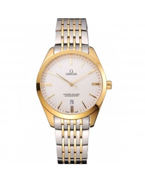 Omega Tresor Master Co-Axial White Dial Gold Case Two Tone Stainless Steel Bracelet