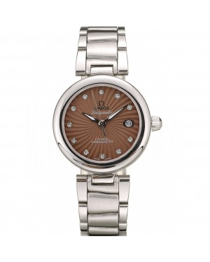 Omega DeVille Ladymatic Stainless Steel Strap Brown Dial