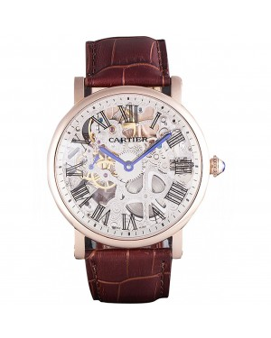 Cartier Luxury Skeleton Watch with Rose Gold Bezel and Brown Leather Band 621557
