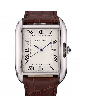 Cartier Tank Anglaise 36mm White Dial Stainless Steel Case Brown Leather Bracelet