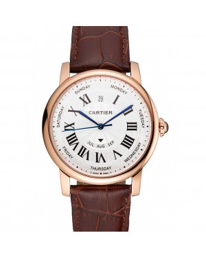 Swiss Cartier Rotonde Annual Calendar White Dial Rose Gold Case Brown Leather Strap