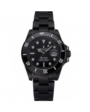 Swiss Rolex Submariner Date Black Dial And Bezel Black PVD Case And Bracelet