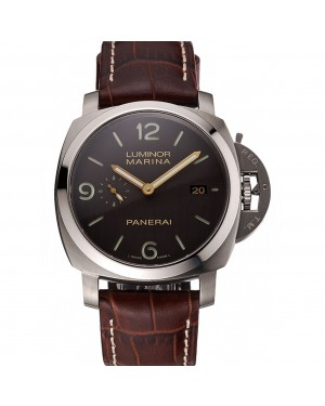 Swiss Panerai Luminor Marina 1950 3 Days Brown Dial Stainless Steel Case Brown Leather Strap