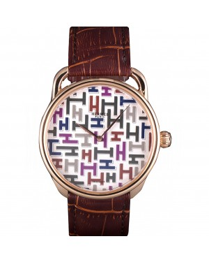 Hermes Classic Croco Leather Strap Multicolor Patterned Logo Dial 801402