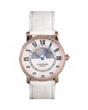 Cartier Moonphase Rose Gold Watch with White Leather Band ct254 621373