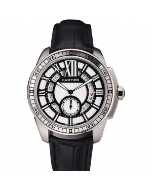 Cartier Calibre De Cartier Small Seconds Black And White Dial Stainless Steel Case Black Leather Strap