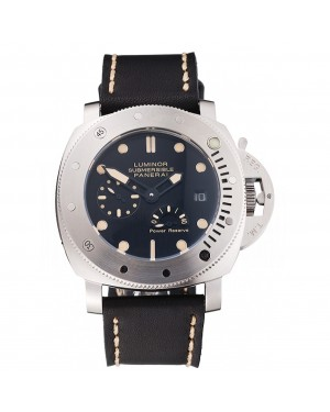 Panerai Luminor Submersible Black Dial Stainless Steel Case Black Leather Strap