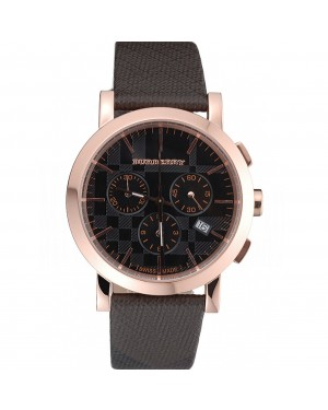 Burberry The City Classic Chronograph Black Dial Smoked Trench Bracelet 622573