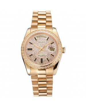 Swiss Rolex Day Date Diamond Pave Dial And Bezel Gold Case And Bracelet