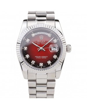 Rolex Day-Date Polished Stainless Steel Two Tone Red Dial
