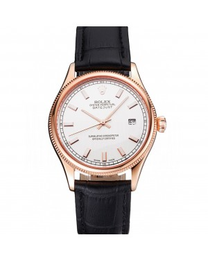Swiss Rolex Datejust White Dial Rose Gold Case Black Leather Strap