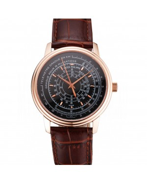 Swiss Patek Philippe Multi-Scale Chronograph Black Dial Rose Gold Case Brown Leather Strap